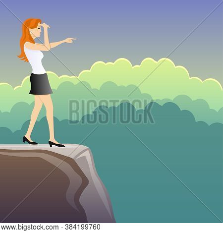 Illustration With A Woman Looking Into The Distance From The Top Of The Mountain.