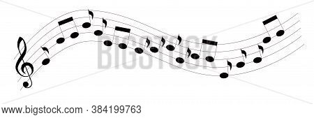 Treble Clef And Notes On A Curved Stave. Vector Illustration Isolated On White Background.