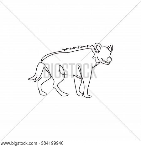 One Single Line Drawing Of Scary Spotted Hyena For Company Logo Identity. Scavenger Animal Mascot Co