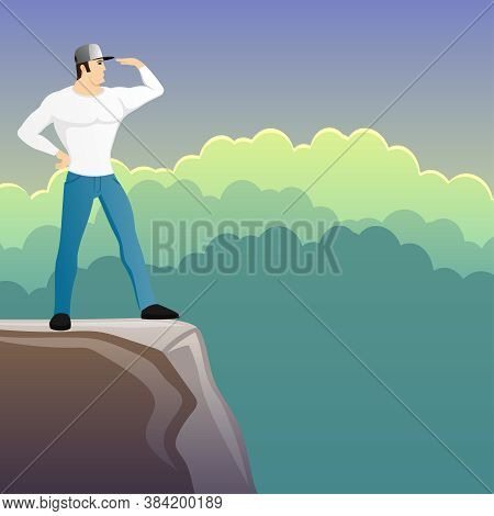 Illustration With A Man Looking Into The Distance From The Top Of The Mountain.