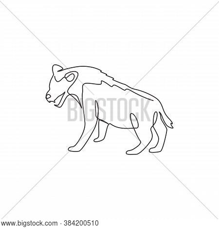 Single Continuous Line Drawing Of Ferocious Hyena For Company Logo Identity. Carnivore Animal Mascot