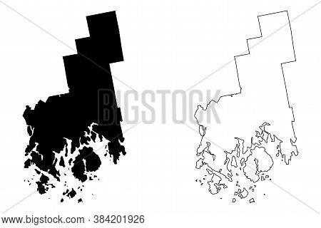 Hancock County, Maine (u.s. County, United States Of America, Usa, U.s., Us) Map Vector Illustration