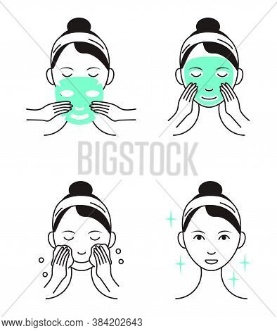 Facial Mask Sheet Applying Vector. Girl Shows Steps How To Cleaning, Whiting Face And Use Cosmetic M