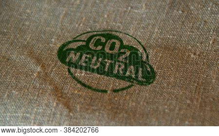 Co2 Carbon Neutral Emission Stamp Printed On Linen Sack. Ecology, Nature Friendly, Climate Change, G