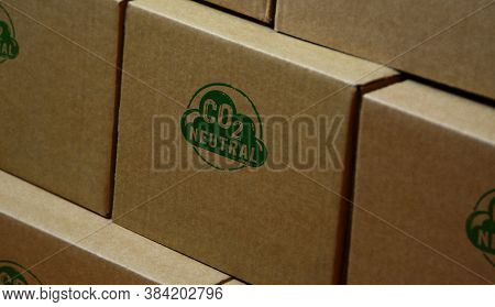 Co2 Carbon Neutral Emission Stamp Printed On Cardboard Box. Ecology, Nature Friendly, Climate Change