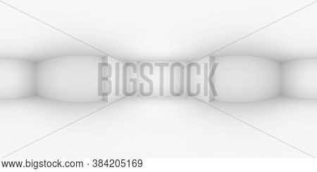 Hdri Environment Map Of White Abstract Empty Room With White Wall, Floor, Ceiling, With Niche Withou