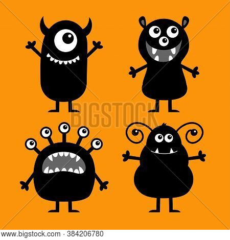 Happy Halloween. Monster Set. Cute Kawaii Cartoon Baby Character Icon. Funny Face Head Black Silhoue