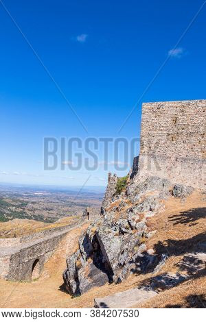 Marvao castle on the top of a mountain with beautiful green landscape, Alentejo, in Portugal