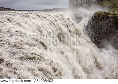 Spectacular Dettifoss Waterfall In Iceland After Floods Filled With A Lot Of Dirty Water