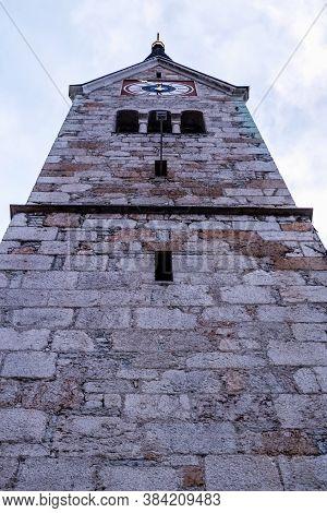 View Of Evangelical Church Tower In Hallstatt, Austria