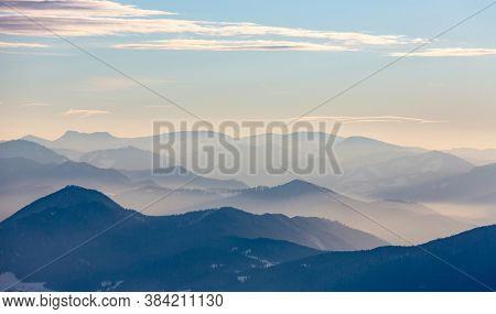 Morning mist in mountain valley. Tatra mountains in Slovakia