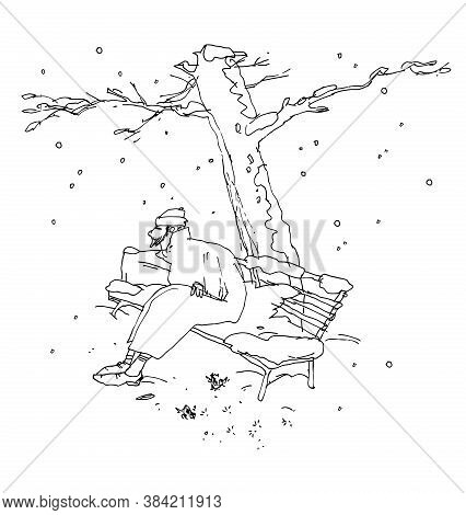 Lonely Man And First Snow - It Is Abstract Ink Drawing And Cartoon.