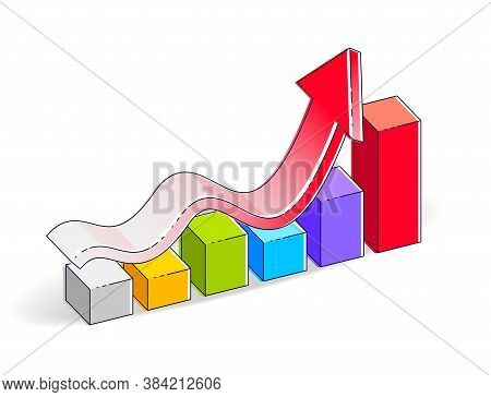 Growth Chart Stats Bar Isolated On White Background. Vector 3d Isometric Business And Finance Illust