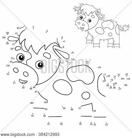 Puzzle Game For Kids: Numbers Game. Cartoon Calf Or Kid Of Cow. Farm Animals. Coloring Book For Chil
