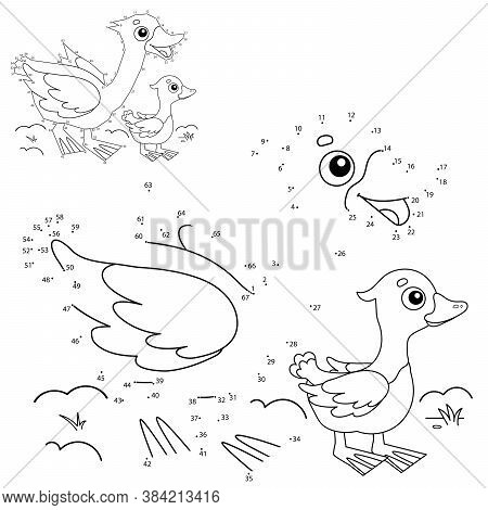 Puzzle Game For Kids: Numbers Game. Cartoon  Goose With Gosling. Farm Animals. Coloring Book For Chi