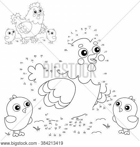 Puzzle Game For Kids: Numbers Game. Cartoon Chicken Or Hen With Chicks. Farm Animals. Coloring Book