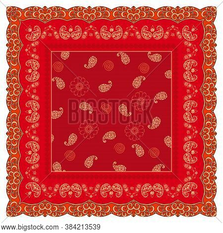 Bright Red Shawl With Flowers And Paisley In Ornamental Frame. Fashion Bandana Print.