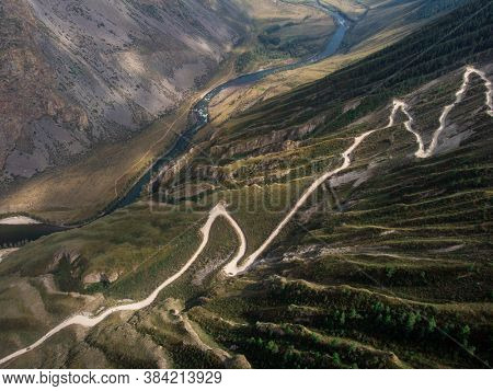 Katu Yaryk mountain pass and the valley of the river of Chulyshman. Altai Republic, Russia, beautiful summer day