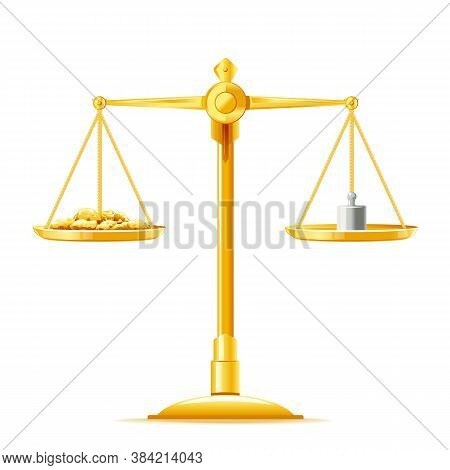 One Full Golden Justice Scales In Front View With Golden Nuggets And Weight Measure, Libra Golden Me