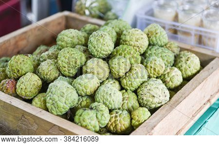 Sugar Apple On Wooden Box In The Fruit Market Asian / Annona Sweetsop Or Or Custard Apple