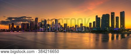 Sunset Above Downtown Miami Skyline And Biscayne Bay Photographed From Macarthur Causeway On Watson