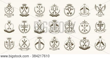 Vintage Weapon Vector Logos Or Emblems, Heraldic Design Elements Big Set, Classic Style Heraldry Mil