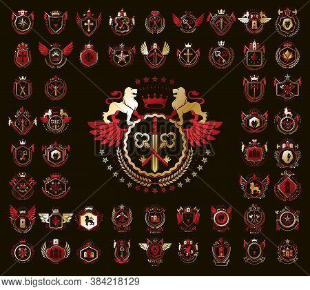 Heraldic Coat Of Arms Vector Big Set, Vintage Antique Heraldic Badges And Awards Collection, Symbols