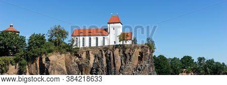 Panorama. Famous Mountain Church In Beucha Near Brandis. Saxony. Germany