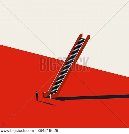 Business Career Opportunity Vector Concept. Businessman In Front Of Staircase. Motivation, Ambition