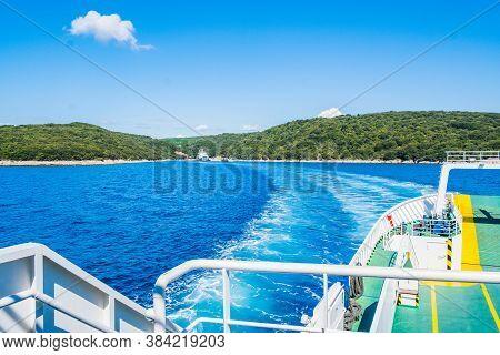 Ferry Boat Between Islands Of Cres And Krk In Croatia