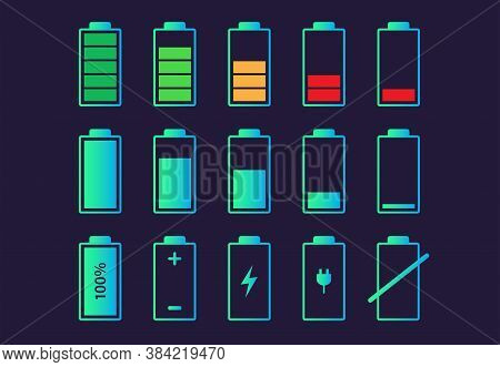 Battery Charge Indicator Icon On Balck Background. Vector Illustration.