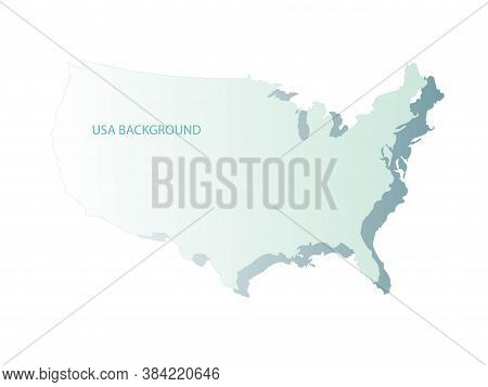 Geographic Map Of The United States Of America With Blue Gradient Texture. The Shape Of Americas Bor