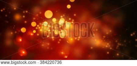 Luminous Dark Red Background With Golden Light Effects. Horizontal Background With Blur Bokeh Effect