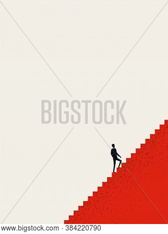 Business Career Opportunity Vector Concept. Businessman Climbing Stairs, Career Ladder. Motivation,