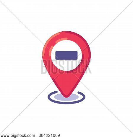 Stop Navigation Pin Flat Icon, Map Pointer With Minus Vector Sign, Colorful Pictogram Isolated On Wh