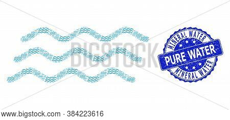 Mineral Water Pure Water Dirty Round Seal And Vector Fractal Mosaic Water Waves. Blue Seal Has Miner