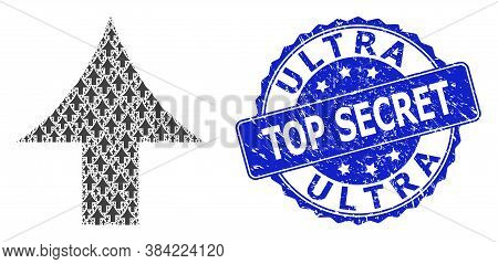 Ultra Top Secret Scratched Round Seal Imitation And Vector Recursion Composition Up Arrow. Blue Stam
