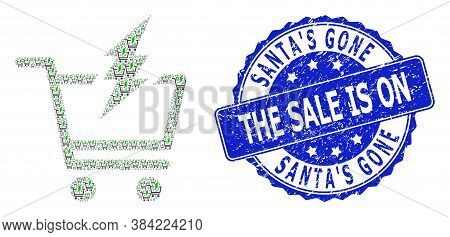 Santas Gone The Sale Is On Grunge Round Stamp Seal And Vector Recursion Composition Proceed Purchase