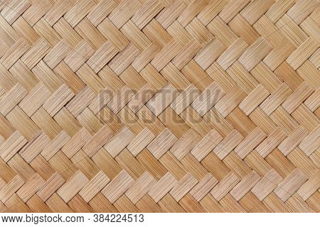 Texture Of Bamboo Weaving. Traditional Handicraft Weave Asian Style Pattern Background.