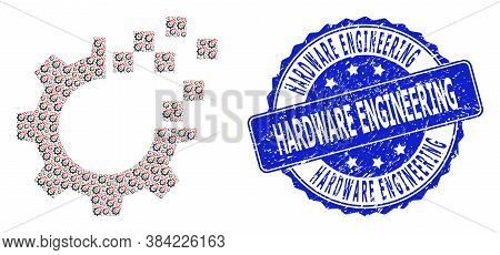 Hardware Engineering Textured Round Stamp Seal And Vector Fractal Collage Auto Gear Repair. Blue Sta