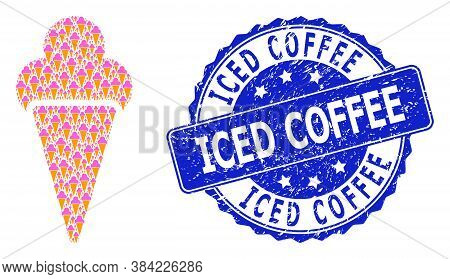 Iced Coffee Grunge Round Stamp Seal And Vector Recursive Collage Icecream. Blue Stamp Seal Contains
