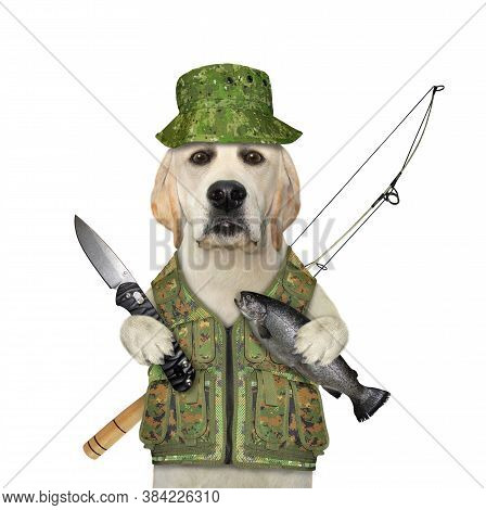 A Dog Fisher In An Uniform With A Fishing Rod Holds A Penknife And The Caught Fish.  White Backgroun
