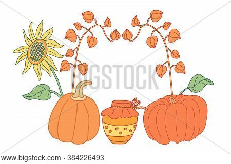 Autumn Composition With Sunflower,  Pumpkins, Jar Of Jam And Physalis In Flat Style With Lines.  Han