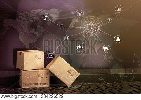 Cardboard Paper Boxes On Notebook With A Plane Flies Behind.business Concept Of International Freigh