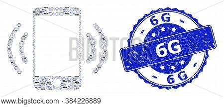 6g Dirty Round Seal Print And Vector Fractal Collage Cellphone Vibration. Blue Stamp Has 6g Caption