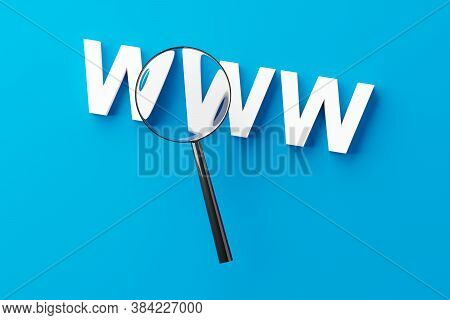 Magnifying Glass Or Loupe Enlarging The Word Www Over White Background, Internet Or Web Search Conce