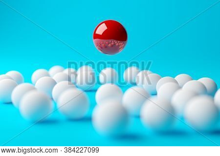Single Red Sphere Floating Above Group Or Team Of White Spheres Over Blue Background, Team, Leadersh