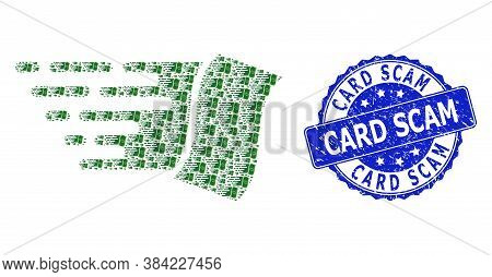 Card Scam Textured Round Stamp And Vector Recursive Collage Flying Dollar Banknote. Blue Stamp Has C