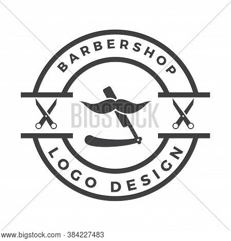 Vintage Barbershop Logo Design. Barber Haircut Vector Straight Razor Icon Logo Design
