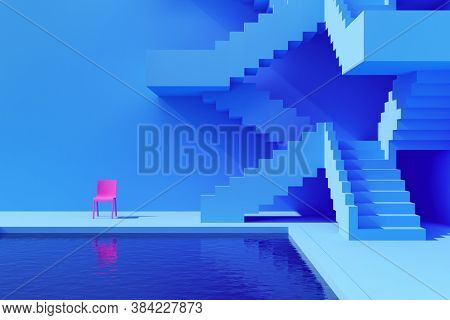 Courtyard with pool and staircase, bright colours, conceptual art, 3D illustration, rendering.
